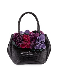 Floral Detail Crocodile Small Tote Bag Black Multi Nancy Gonzalez