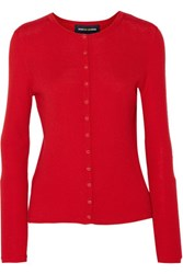 Vanessa Seward Barbara Ribbed Merino Wool Cardigan Red