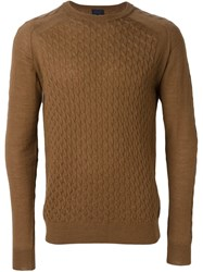 Lanvin Cable Knit Accent Jumper Brown