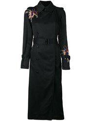 Victoria Beckham Embroidered Flowers Coat Black