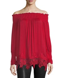 Philosophy Off The Shoulder Lace Hem Tunic Red
