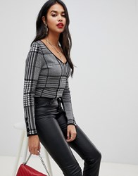 Morgan Checked Jumper In Grey Multi