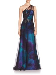 Theia One Shoulder Tulle Overlay Gown Turquoise