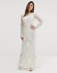 A Star Is Born Bridal Embellished Maxi Dress In Ivory White