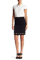 Catherine Malandrino Grommet Trim Pencil Skirt Black