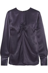 Joseph Eugene Gathered Charmeuse Blouse Navy