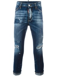 Dsquared2 Glam Head Distressed Patchwork Jeans Blue