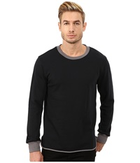 Alternative Apparel Light French Terry Inlet Crew Neck Black Men's Long Sleeve Pullover