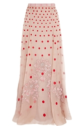 Temperley London Josette Embellished Polka Dot Silk Organza Maxi Skirt