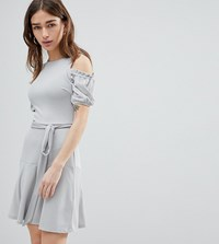 Lost Ink Petite Fit And Flare Dress In Texture With Tie Waist Light Blue