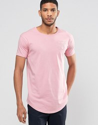 Sik Silk Siksilk Logo T Shirt With Curved Hem Pink