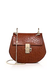 Chloe Drew Small Crocodile Embossed Leather And Suede Saddle Crossbody Bag Sienna Red