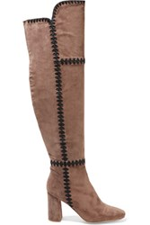Sigerson Morrison Steele Embroidered Suede Over The Knee Boots Taupe