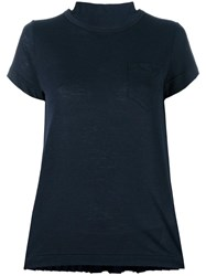 Sacai Tribal Lace Panelled T Shirt Blue