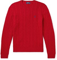 Polo Ralph Lauren Cable Knit Merino Wool And Cashmere Blend Sweater Red
