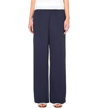 Whistles Fine Textured Wide Leg Trousers Navy
