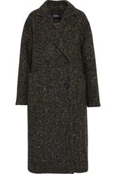 Goen.J Double Breasted Herringbone Wool Coat Dark Green