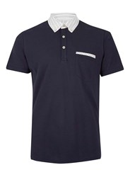 Peter Werth Blue Navy Button Down Polo Neck T Shirt