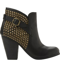 Steve Madden Alani Studded Cowboy Boots Black Leather
