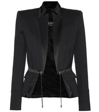 Balmain Silk Satin And Cotton Jacket Black