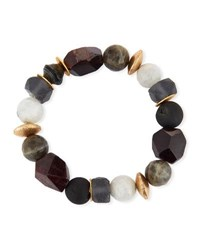 Akola Pica Beaded Garnet Stretch Bracelet Black Red