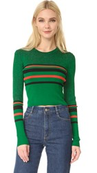 Diane Von Furstenberg Long Sleeve Pullover Green Envy Black Dare Red