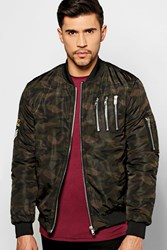Boohoo Multi Zip Ma1 Bomber With Badges Khaki
