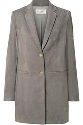 The Row Batilda Oversized Suede Jacket Gray