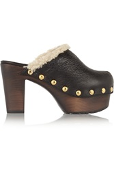 Giuseppe Zanotti Shearling Lined Textured Leather Clogs
