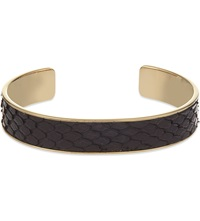 Aspinal Of London Cleopatra Skinny Python Leather Cuff Bangle S Black