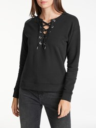 Long Sleeve Drawcord Sweatshirt Black