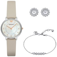 Emporio Armani Ar80001 Women's Watch Flower Stud Earrings And Crystal Friendship Bracelet Set Nude Mother Of Pearl