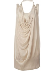 Issey Miyake Vintage Draped Dress Nude And Neutrals