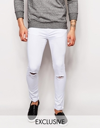 Exclusive To Asos Waven Jeans Erling Spray On Super Skinny Fit Clean White Rip Repair