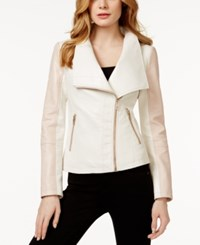 Guess Colorblocked Faux Leather Jacket Baby Pink White