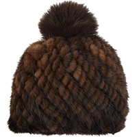 Mink Knit Beanie Brown