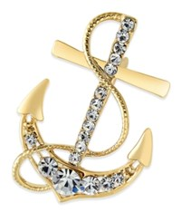Charter Club Gold Tone Crystal Nautical Anchor Pin Only At Macy's