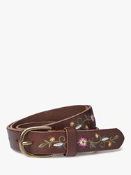 Fat Face Floral Embroidery Leather Jeans Belt Chocolate