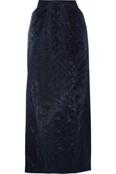 Zac Posen Gathered Embroidered Tulle Maxi Skirt Storm Blue