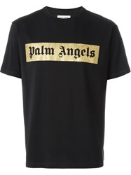 Palm Angels Glitter Logo T Shirt Black