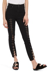 Topshop Petite Women's Jamie Front Laced Skinny Jeans