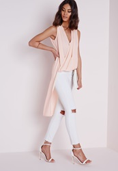 Missguided Sleeveless Wrap Over Blouse Nude Beige