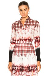 Altuzarra Chika Shirt In Ombre Plaid Red White Ombre Plaid Red White
