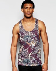 Asos Linen Look Vest With All Over Print And Extreme Racer Back Burgandy Red