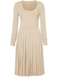 Burberry Long Sleeve Pleated Dress Neutrals