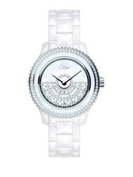 Christian Dior Dior Viii Grand Bal Diamond Mother Of Pearl White Ceramic And Stainless Steel Automatic Bracelet White Silver