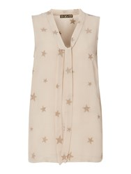 Biba Star Embroidered Tie Detail Blouse Oyster