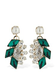 Anton Heunis Post Small Cluster Pendant Earrings Green