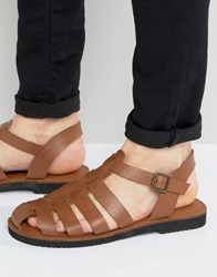 Kg By Kurt Geiger Strap Sandals In Tan Leather Tan