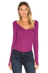 Michael Lauren Otis Long Sleeve V Neck Tee Purple
